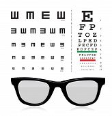 stock photo of snellen chart  - vector Snellen eye test chart with glass isolated on white background - JPG
