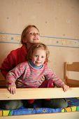 foto of bunk-bed  - happy children in child - JPG