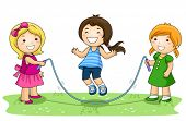 Children playing jumping rope in the Park - Vector