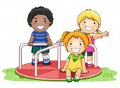 picture of playmates  - Children on Merry Go Round in the Park  - JPG