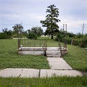 stock photo of katrina  - Remaining steps and railing of house after Hurricane Katrina - JPG