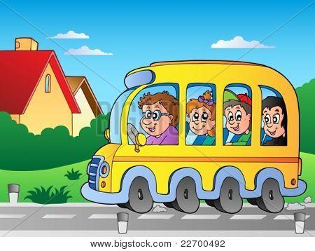 Road with school bus 1 - vector illustration.