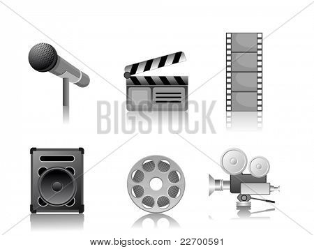 illustration set of entertainment icon on isolated white background