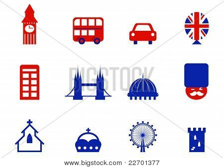 London & English Icons And Design Elements Isolated On White ( Red & Blue ).