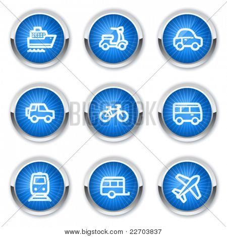 Transport web icons, blue buttons