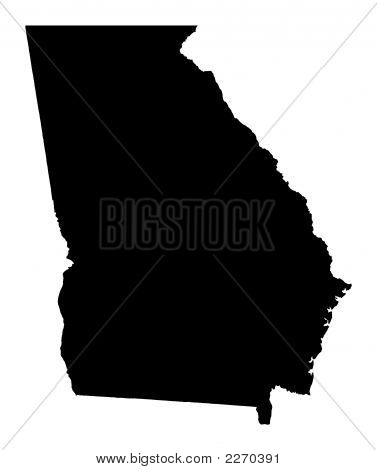 Detailed Isolated B/W Map Of Georgia, Usa