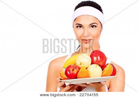 Portrait of a beautiful young Woman mit Früchten. isolated over white Background.
