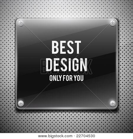 Black glossy plate on metal grid(vector illustration)