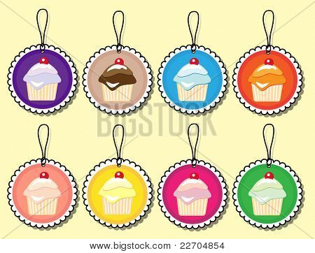 Cupcake gift tags in various colours. EPS10 vector format.