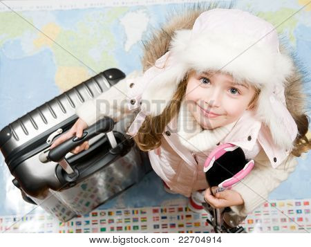 Ski travel - Ready for travel to winter vacation (Blurred map background)