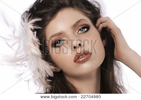Hair Style Girl With Feathers