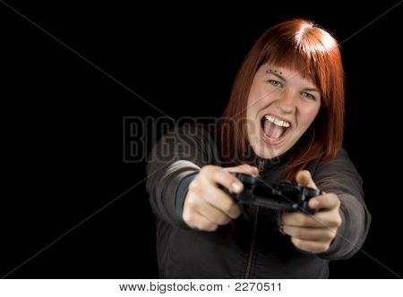 Girl Playing Videogames.