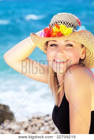 Smiling Female Portrait On The Beach