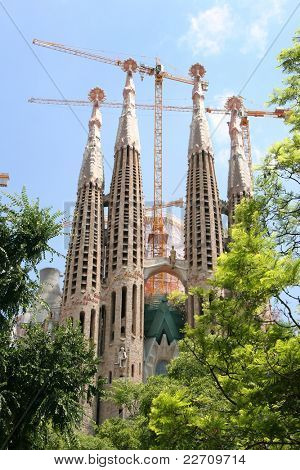 BARCELONA SPAIN - JULY 21: La Sagrada Familia - the cathedral designed by Antoni Gaudi, which is being build since 19 March 1882 and is not finished yet July 21, 2011 in Barcelona, Spain.