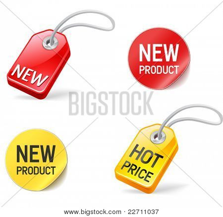new product and hot price stickers and tags