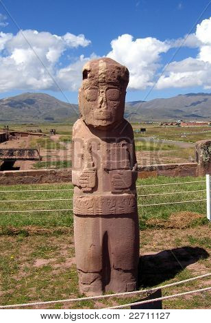 Tiwanaku ruins - the mysterious Fraile monolith