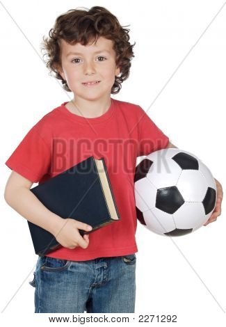 Boy With Ball And Book
