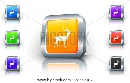 Deer Icon on 3D Button with Metallic Rim Original Illustration
