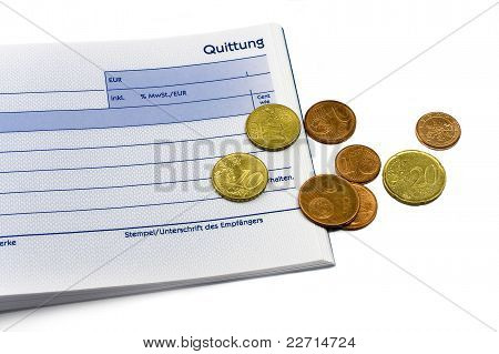 Receipt With Euro Coins And Ball-pen
