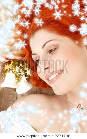 Redhead Girl With White Christmas Bells And Snowflakes