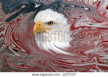 American Flag With Eagle Abstract