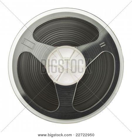 Vintage magnetic audio reel, isolated.