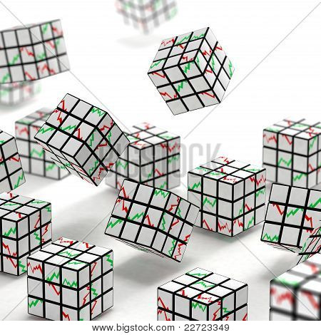 Puzzle toy cubes with graphs on faces