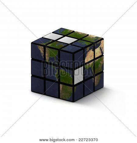 Earth-like puzzle toy cube