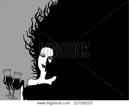 Halloween Invitation : Female Vampire offers a drink : Bigstock