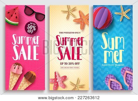 poster of Summer Sale Vector Poster Design Set With Sale Text And Beach Paper Cut Elements In Colorful Pattern