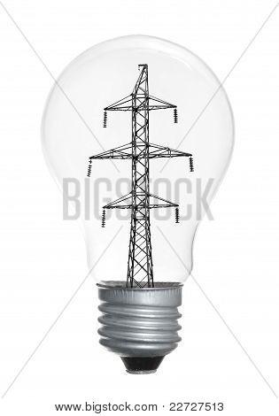 Bombilla de luz aislado sobre fondo blanco