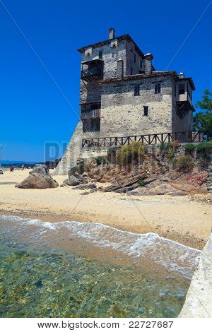 Phospfori tower in Ouranopolis, Athos Peninsula, Mount Athos, Chalkidiki, Greece