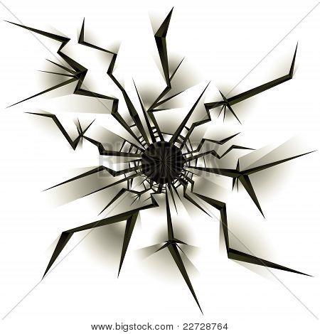 Bullet hole.