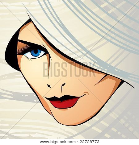 Attractive woman vector illustration.
