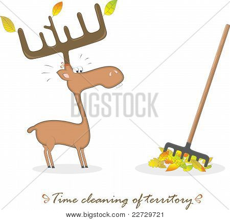 Funny elk and rake, vector illustration