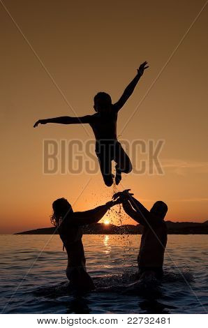 Silhouette Of Boy Jumping