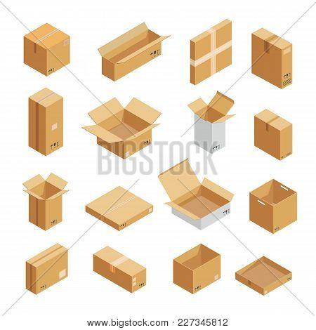 poster of Parcel Packaging Box Icons Set. Isometric Illustration Of 16 Parcel Packaging Box Vector Icons For W