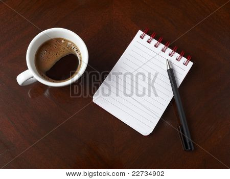 Cup Of Coffee Drink Notebook Pencil Business