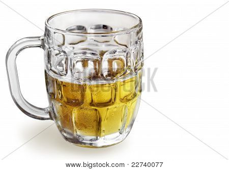 Refreshing Cold Beer In Glass Bock On White