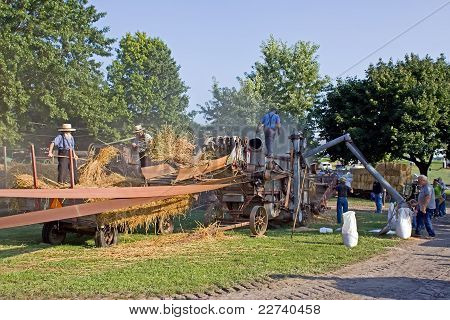 Threshing Machine in Operation