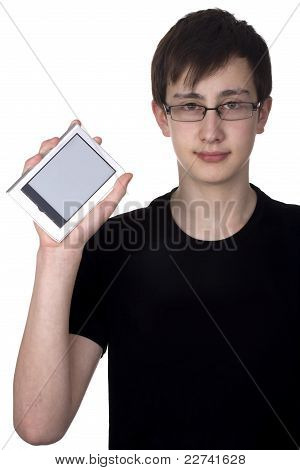 Boy holding e-book