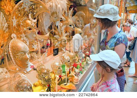 Shop-window With Venetian Carnival Masks In Venice