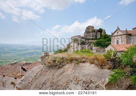 View On Valley, Lauria Castle And Basilica In Town Castiglione Di Sicilia