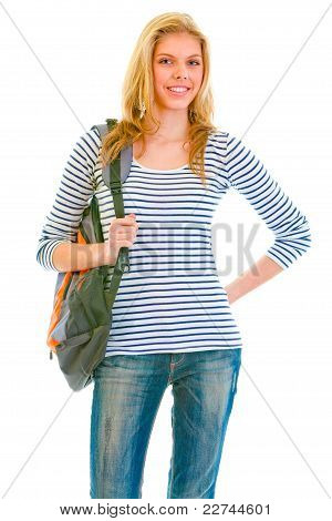 Happy Teen Girl With Schoolbag