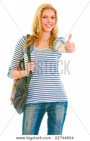 Happy Pretty Girl With Backpack Showing Thumbs Up Gesture