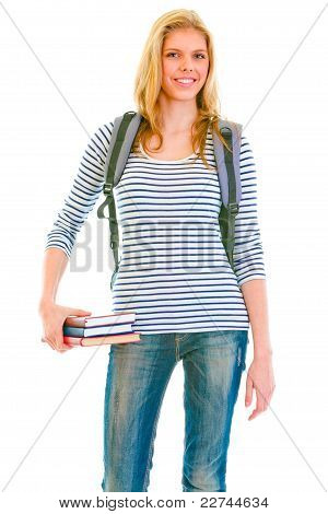 Cheerful Teengirl With Schoolbag Holding Books In Hand
