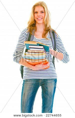 Happy Teenager With Books And Backpack Ready To Go Back To School