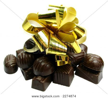 Chocolate Gift Isolated On White