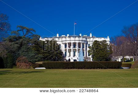 White house with clear blue sky, Washington DC, USA
