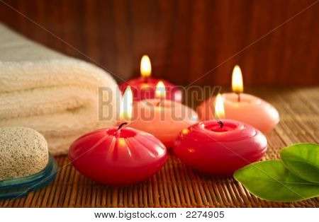 Pink Candles,Pumice,Towel And Leaf